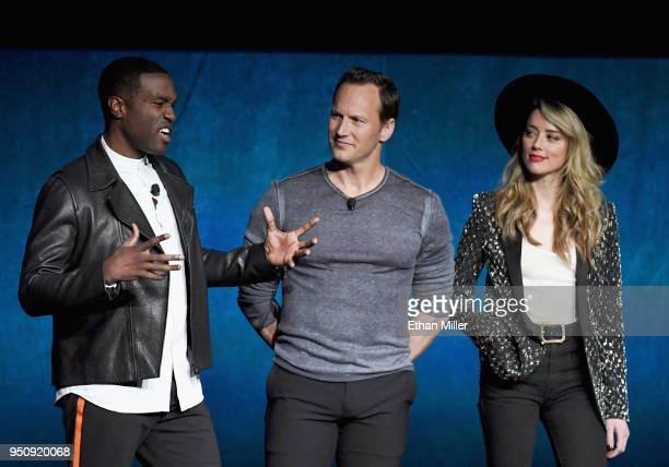 Actors Yahya AbdulMateen II Patrick Wilson and Amber Heard speak onstage during CinemaCon 2018 Warner Bros Pictures Invites You to 'The Big Picture'...