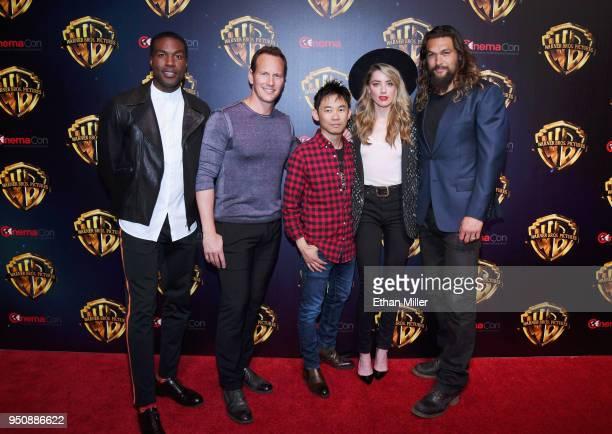 Actors Yahya AbdulMateen II Patrick Wilson director James Wan actors Amber Heard and Jason Momoa attend CinemaCon 2018 Warner Bros Pictures Invites...