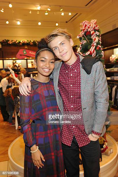 Actors Yara Shahidi and Aidan Alexander attend Brooks Brothers holiday celebration with St Jude Children's Research Hospital on December 3 2016 in...