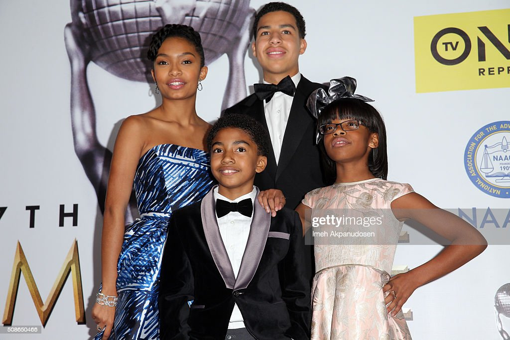 Actors Yara Shahidi and Marcus Scribner (back), Miles Brown and Marsai Martin (front) pose in the press room during the 47th NAACP Image Awards presented by TV One at Pasadena Civic Auditorium on February 5, 2016 in Pasadena, California.