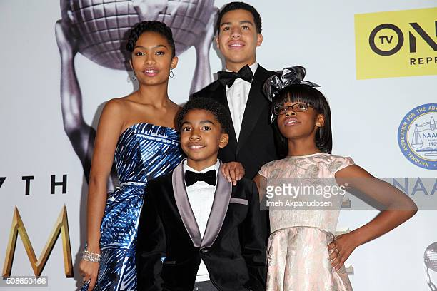 Actors Yara Shahidi and Marcus Scribner Miles Brown and Marsai Martin pose in the press room during the 47th NAACP Image Awards presented by TV One...