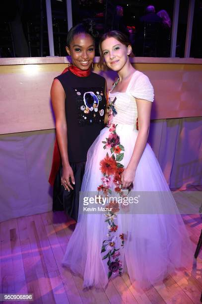 Actors Yara Shahidi and Millie Bobby Brown attends the 2018 Time 100 Gala at Jazz at Lincoln Center on April 24 2018 in New York CityÊ