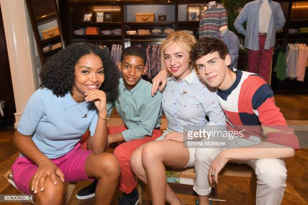 Actors Yara Shahidi Sayeed Shahidi Peyton List and Aidan J Alexander at the Brooks Brothers Beverly Hills summer camp party benefitting St Jude...
