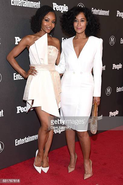 Actors Yaya DaCosta and Tracee Ellis Ross attend the Entertainment Weekly People Upfronts party 2016 at Cedar Lake on May 16 2016 in New York City