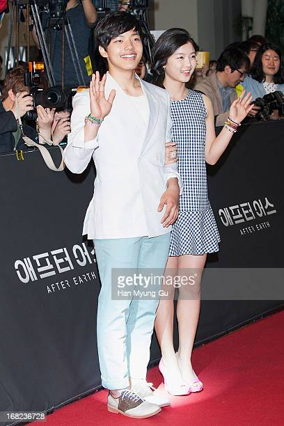 Actors Yeo JinGu and Kim YouJung attend the 'After Earth' South Korea Premiere Times Square on May 7 2013 in Seoul South Korea Will Smith and Jaden...
