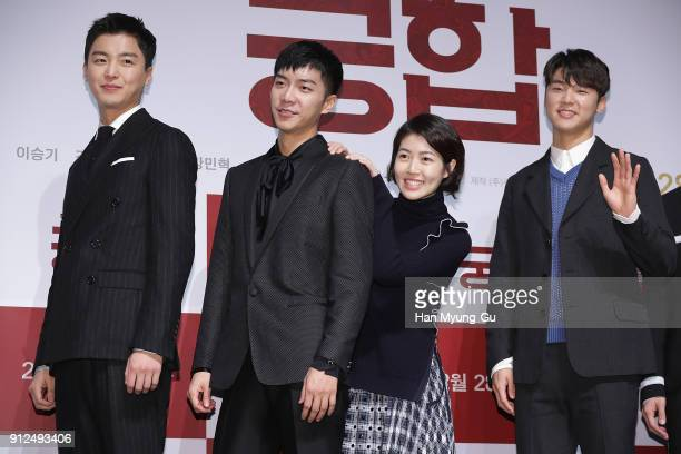 Actors Yeon WooJin Lee SeungGi Sim EunKyung and Kang MinHyuk of South Korean boy band CNBLUE attend the press conference for 'The Princess and The...