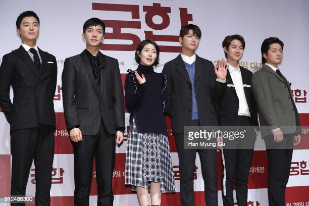 Actors Yeon WooJin Lee SeungGi Sim EunKyung Kang MinHyuk Choi WooShik of South Korean boy band CNBLUE attend the press conference for The Princess...