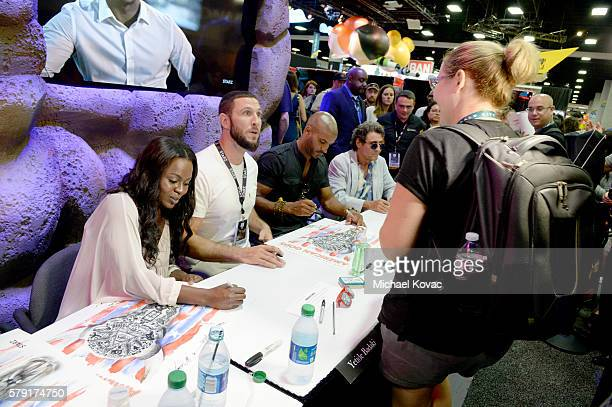 Actors Yetide Badaki Pablo Schreiber Ricky Whittle and Ian McShane sign autographs at the 'American Gods' autograph signing during ComicCon...