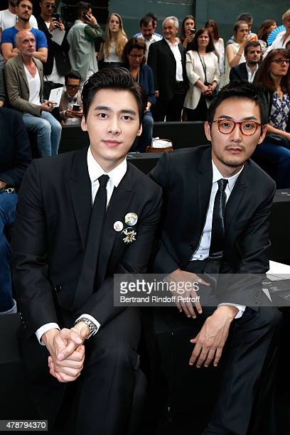 Actors Yifeng Li and Ryuhei Matsuda attend the Dior Homme Menswear Spring/Summer 2016 show as part of Paris Fashion Week on June 27 2015 in Paris...