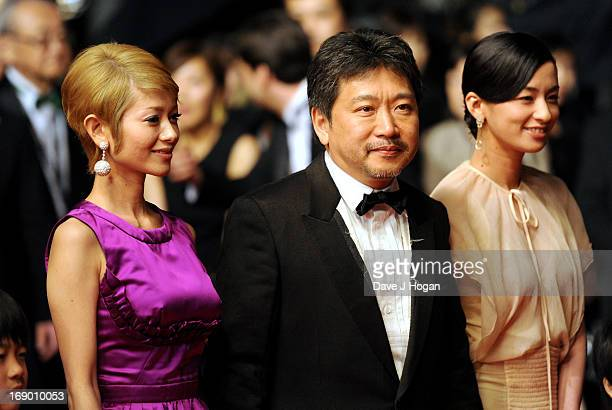 Actors Yoko Maki director Hirokazu Koreeda and actress Machiko Ono attend the 'Soshite Chichi Ni Naru' Premiere during the 66th Annual Cannes Film...