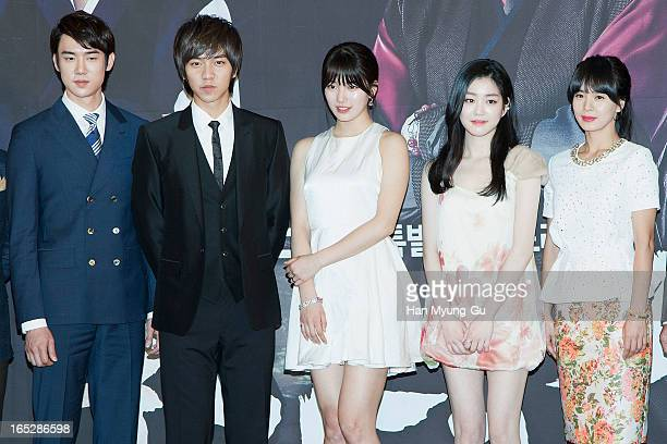Actors Yoo YeonSeok Lee SeungGi Suzy of South Korean girl group Miss A Lee YuBi and Jung HyeYoung attend the MBC Drama 'Goo Family's Secret' Press...