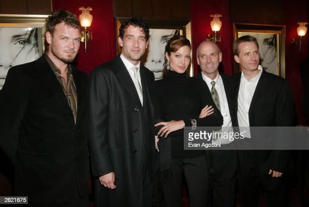 Actors Yorick van Wageningen Clive Owen Angelina Jolie director Martin Campbell and actor Linus Roache attend the world premiere of Paramount...