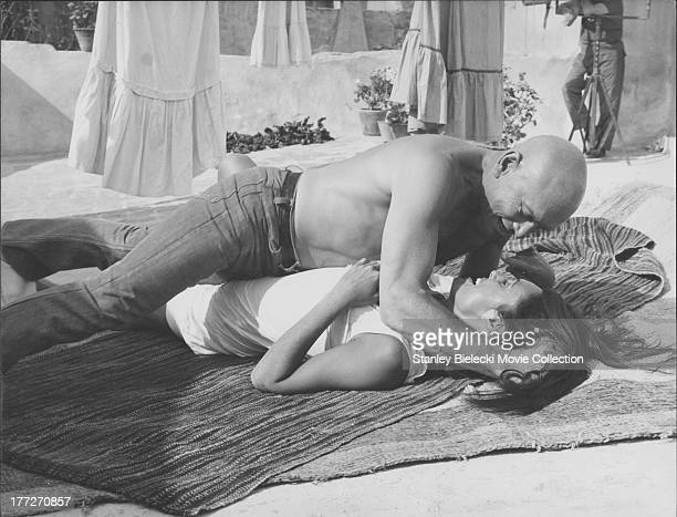 Actors Yul Brynner and Daliah Lavi in a scene from the movie 'Catlow' 1971