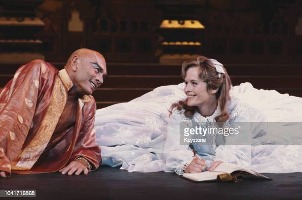 Actors Yul Brynner and Virginia McKenna star in the stage version of the musical 'The King And I' at the London Palladium UK 1979