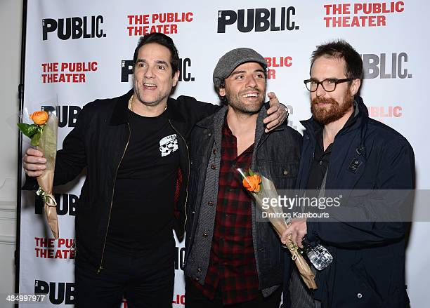 Actors Yul Vazquez Oscar Isaac and Sam Rockwell attend The Library opening night celebration at The Public Theater on April 15 2014 in New York City