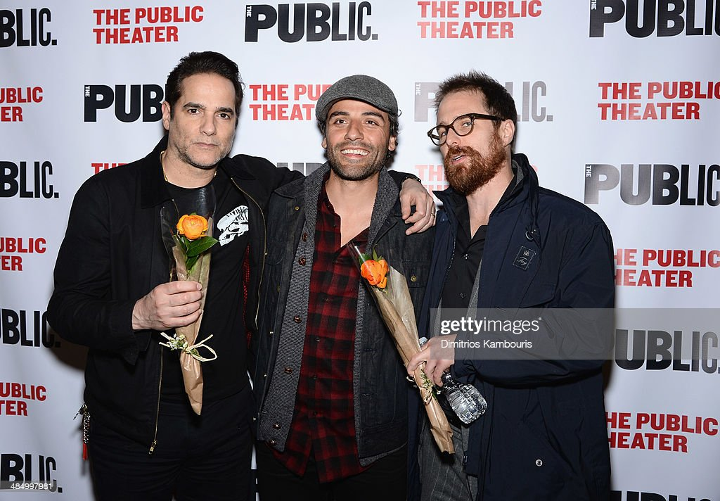 Actors Yul Vazquez, Oscar Isaac and Sam Rockwell attend 'The Library' opening night celebration at The Public Theater on April 15, 2014 in New York City.