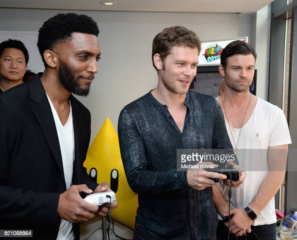 Actors Yusuf Gatewood Joseph Morgan and Riley Voelkel from the CW series 'The Originals' stopped by Nintendo at the TV Insider Lounge to check out...