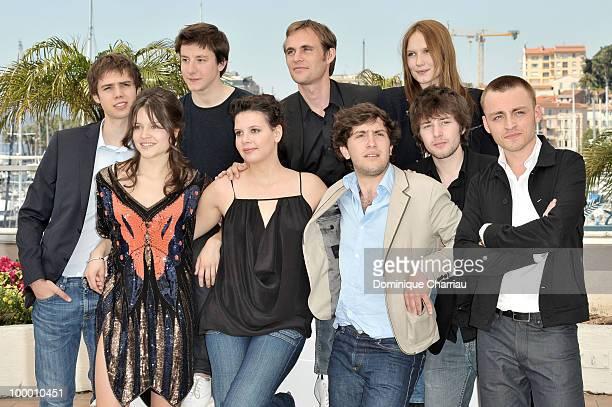 Actors Yvan TassinArthur Mazet director Fabrice Gobert with actress Ana Girardot actresses Audrey Bastien Selma El Moussi with actors Esteben...