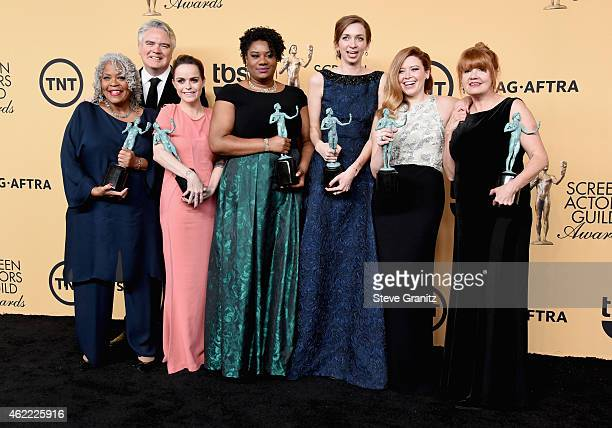 Actors Yvette Freeman Michael J Harney Taryn Manning Adrienne C Moore Lauren Lapkus Natasha Lyonne and Annie Golden pose in the press room at the...