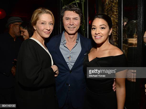Actors Yvonne Boismier Phillips Lou Diamond Phillips and Gina Rodriguez join Moet Chandon to celebrate 25 Years with the Golden Globes and the Winner...
