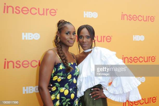 Actors Yvonne Orji and Issa Rae attend HBO's Insecure Block Party at Banc of California Stadium on July 21 2018 in Los Angeles California