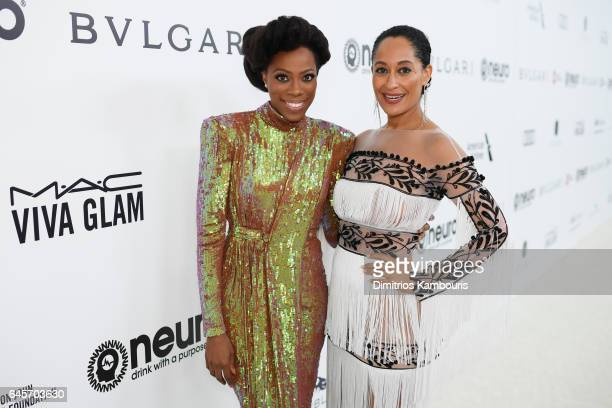 Actors Yvonne Orji and Tracee Ellis Ross attend the 25th Annual Elton John AIDS Foundation's Academy Awards Viewing Party at The City of West...