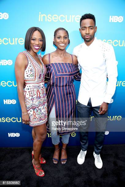 Actors Yvonne Orji executive producer and star Issa Rae and Jay Ellis attend a block party celebrating HBO's new season of 'Insecure' on July 15 2017...
