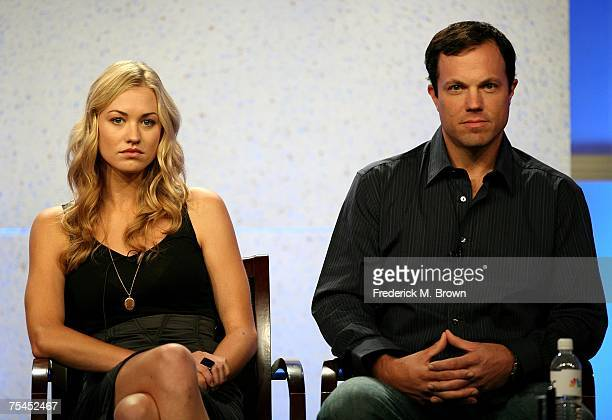 Actors Yvonne Strahovski and Adam Baldwin of 'Chuck' speak during the 2007 Summer Television Critics Association Press Tour for NBC held at the...