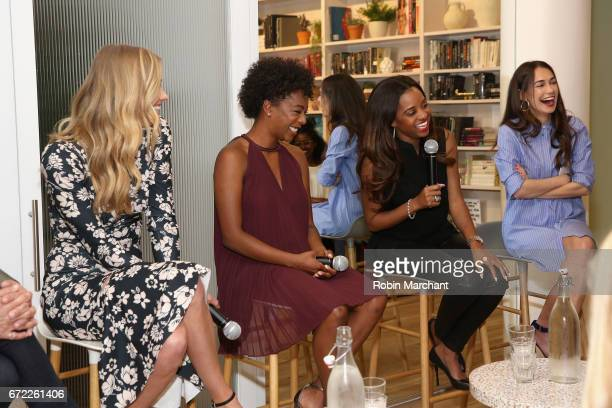 Actors Yvonne Strahovski and Samira Wiley Women's March National CoChair Tamika Mallory and cofounder at The Wing Audrey Gelman speak on a panel...