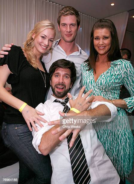 Actors Yvonne Strahovski clockwise from left Ryan McPartlin Sarah Lancaster and Joshua Gomez attend NBC's CHUCK premiere party at PURE Nightclub on...