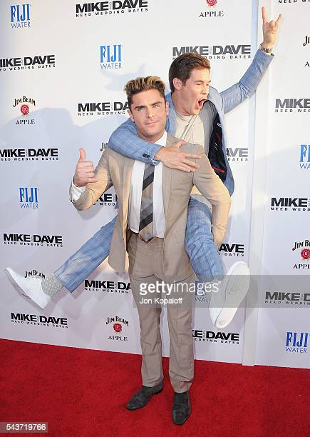 """Actors Zac Efron and Adam Devine arrive at the Los Angeles Premiere """"Mike And Dave Need Wedding Dates"""" at the ArcLight Cinerama Dome on June 29, 2016..."""