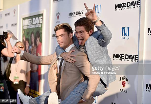 Actors Zac Efron and Adam Devine attend the premiere of 20th Century Fox's Mike and Dave Need Wedding Dates at ArcLight Cinemas Cinerama Dome on June...