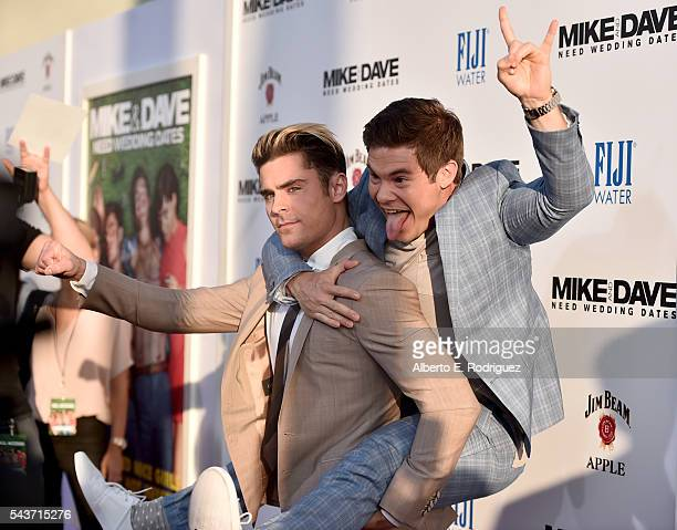 Actors Zac Efron and Adam Devine attend the premiere of 20th Century Fox's 'Mike and Dave Need Wedding Dates' at ArcLight Cinemas Cinerama Dome on...