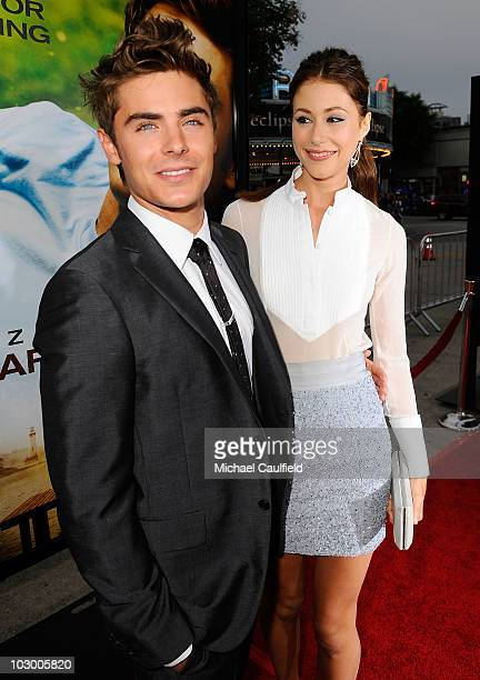 Actors Zac Efron and Amanda Crew arrive at the premiere of Universal Pictures' 'Charlie St Cloud' held at the Regency Village Theatre on July 20 2010...