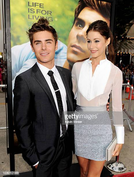 Actors Zac Efron and Amanda Crew arrive at the premiere of Universal Pictures' Charlie St Cloud at the Village Theater on July 20 2010 in Los Angeles...