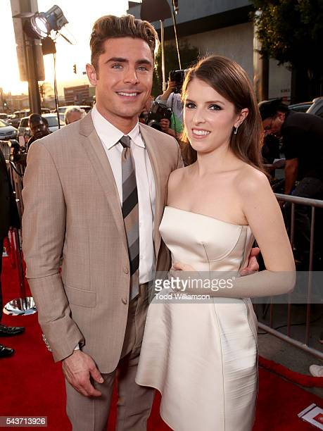 Actors Zac Efron and Anna Kendrick attend the premiere of 20th Century Fox's 'Mike and Dave Need Wedding Dates' at ArcLight Cinemas Cinerama Dome on...