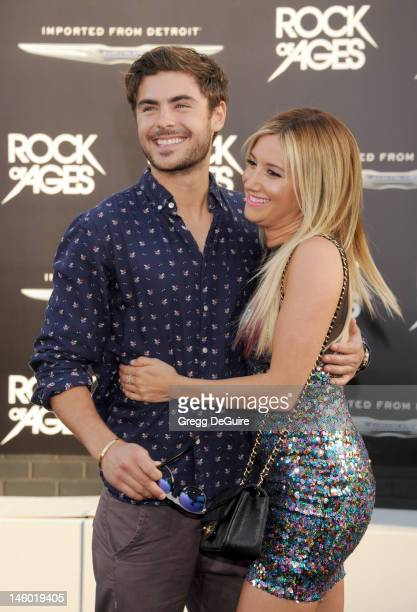 Actors Zac Efron and Ashley Tisdale arrive at the 'Rock of Ages' Los Angeles premiere at Grauman's Chinese Theatre on June 8 2012 in Hollywood...