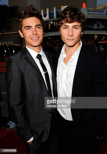 Actors Zac Efron and Augustus Prew arrive at the premiere of Universal Pictures' Charlie St Cloud held at the Regency Village Theatre on July 20 2010...