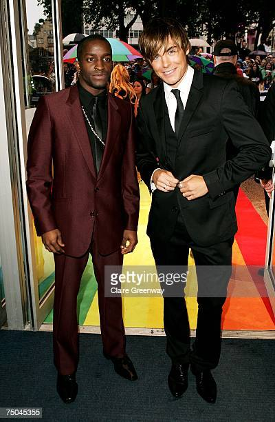 Actors Zac Efron and Elijah Kelley arrive at the UK premiere of 'Hairspray' at Odeon West End on July 5 2007 in London England