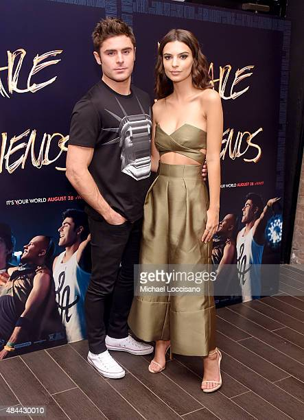 Actors Zac Efron and Emily Ratajkowski attend the We Are Your Friends tour stop photo call and after party at the Marquee on August 18 2015 in New...