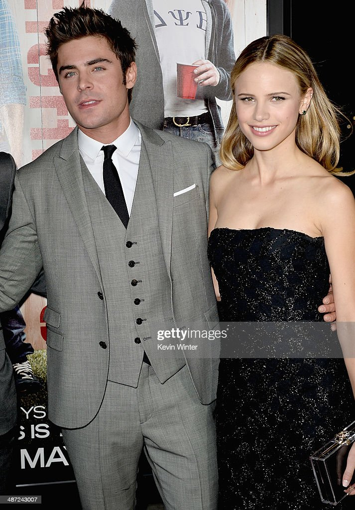 Actors Zac Efron (L) and Halston Sage attend Universal Pictures' 'Neighbors' premiere at Regency Village Theatre on April 28, 2014 in Westwood, California.