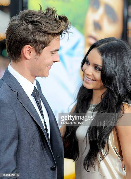 Actors Zac Efron and Vanessa Hudgens arrive at the premiere of Universal Pictures' Charlie St Cloud held at the Regency Village Theatre on July 20...