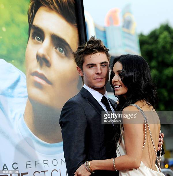 Actors Zac Efron and Vanessa Hudgens arrive at the premiere of Universal Pictures' Charlie St Cloud at the Village Theater on July 20 2010 in Los...