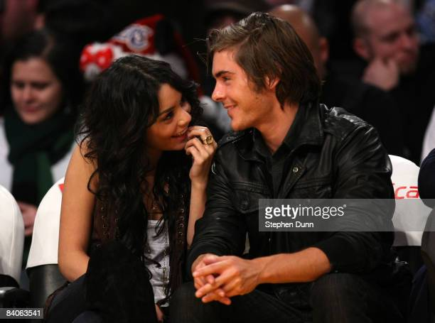 Actors Zac Efron and Vanessa Hudgens attend the game between the Los Angeles Lakers and the New York Knicks at Staples Center December 16 2008 in Los...