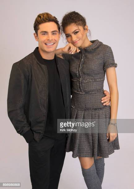 Actors Zac Efron and Zendaya from 'The Greatest Showman ' are photographed for Los Angeles Times on November 28 2017 in Los Angeles California...