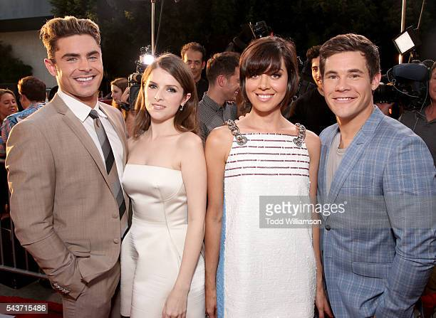 Actors Zac Efron Anna Kendrick Aubrey Plaza and Adam Devine attend the premiere of 20th Century Fox's 'Mike and Dave Need Wedding Dates' at ArcLight...