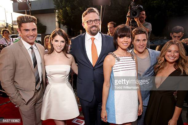 Actors Zac Efron Anna Kendrick writer/director Jake Szymanski and actors Aubrey Plaza Adam Devine and Sugar Lyn Beard attend the premiere of 20th...
