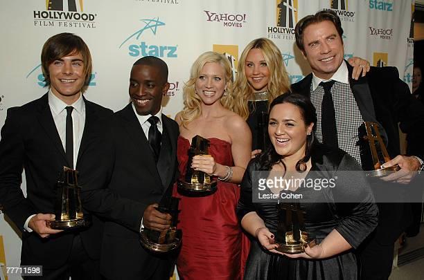 Actors Zac Efron, Elijah Kelley, Brittany Snow, Amanda Bynes, Nikki Blonsky and John Travolta backstage at Hollywood Film Festival's Hollywood Awards...