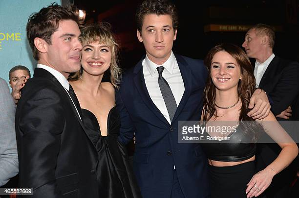 Actors Zac Efron Imogen Poots Miles Telle and Addison Timlin arrive to the premiere of Focus Features' That Awkward Moment at Regal Cinemas LA Live...