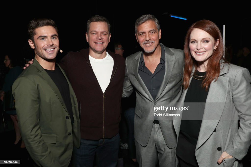 Actors Zac Efron, Matt Damon, George Clooney and Julianne Moore at CinemaCon 2017 Paramount Pictures Presentation Highlighting Its Summer of 2017 and Beyond at The Colosseum at Caesars Palace during CinemaCon, the official convention of the National Association of Theatre Owners, on March 28, 2017 in Las Vegas, Nevada.
